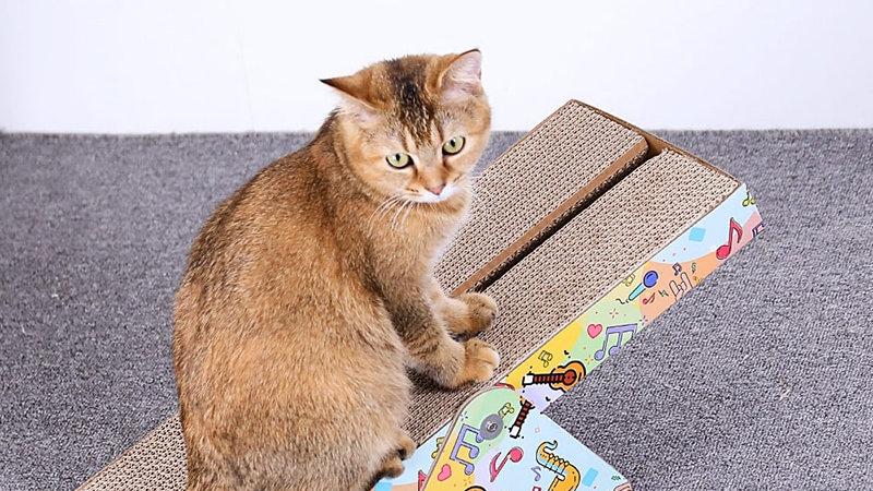HOOPET Cat Kitten Scratch Board Toy Corrugated Paper Pad