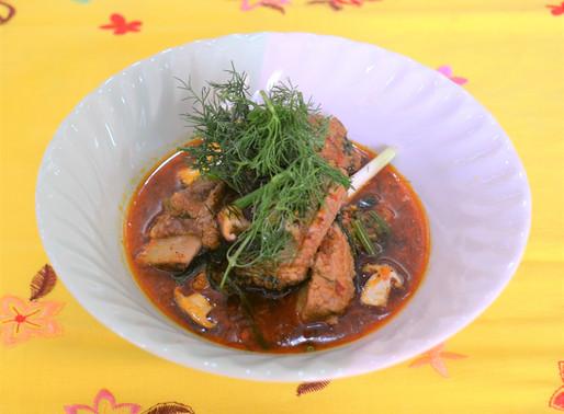 Curry de porc, champignons et aneth