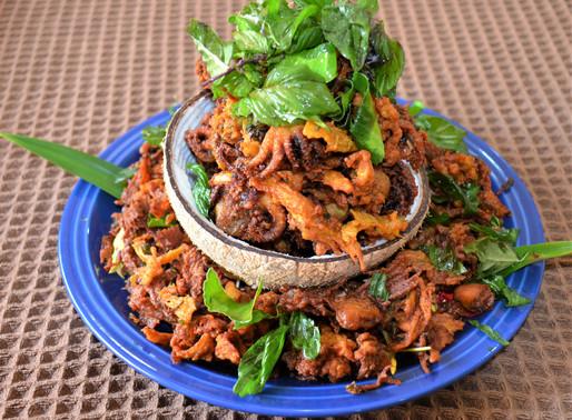 Crisp fried octopus, lemongrass and basil