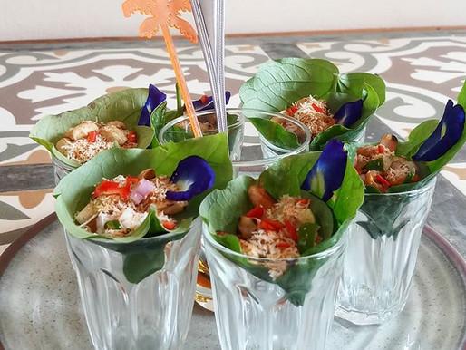 Salad in wild pepper leaves (vegetarian)