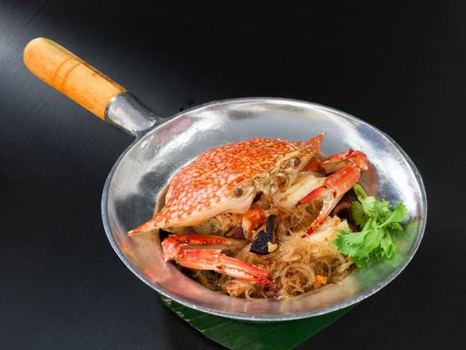Vermicelles de soja sautées au crabe