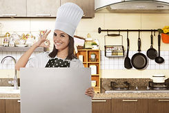 Happy Asian Female Chef With Ok Gesture