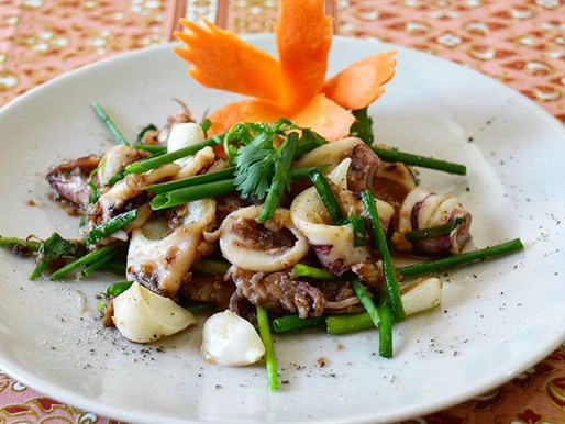 Stir-fried calamari, shrimp paste and pickled garlic