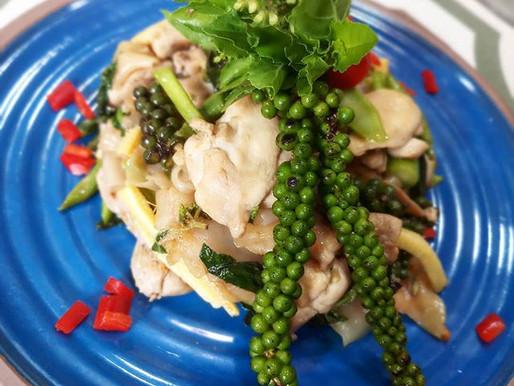 Drunken noodles, chicken, green peppercorn and holy basil