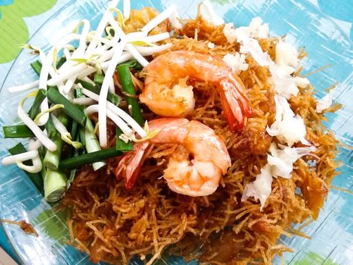 Sweet and sour crisp-fried noodles, or Mee krop