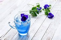 Blue tea made with butterfly pea from our organic garden