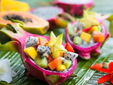 Pitaya-Salat in Pandan-Sirup