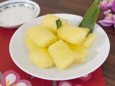 Kandierter Maniok mit Kokosnuss-Sauce