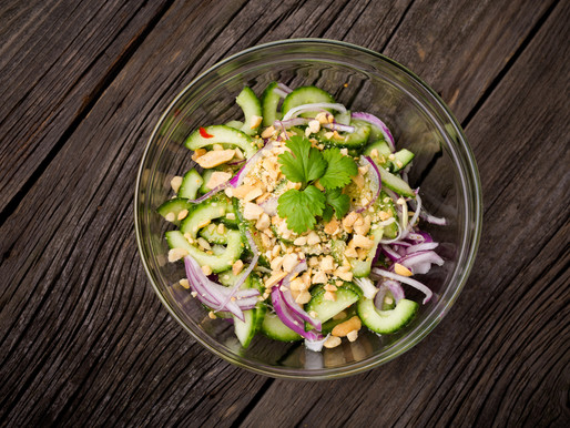 Cucumber salad with dry shrimps, mint and peanuts