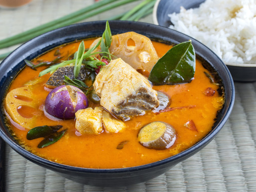 Spicy and sour fish soup with lotus stalks or Tom yam pla