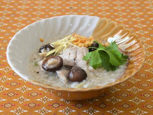 Fish, rice and shiitake soup, or Khaw Tom