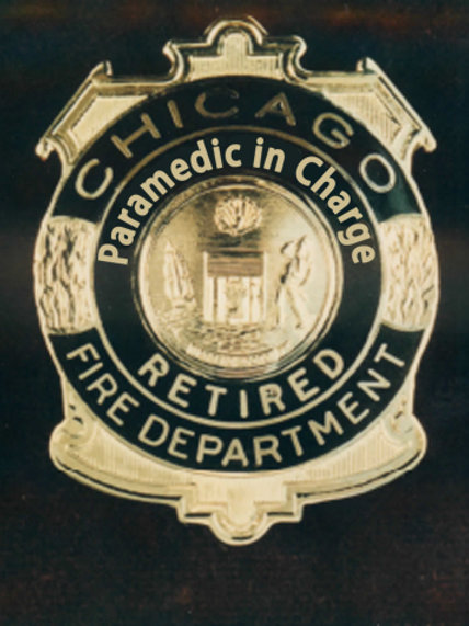 Retired Lucite Box Paramedic in Charge Replica Badge
