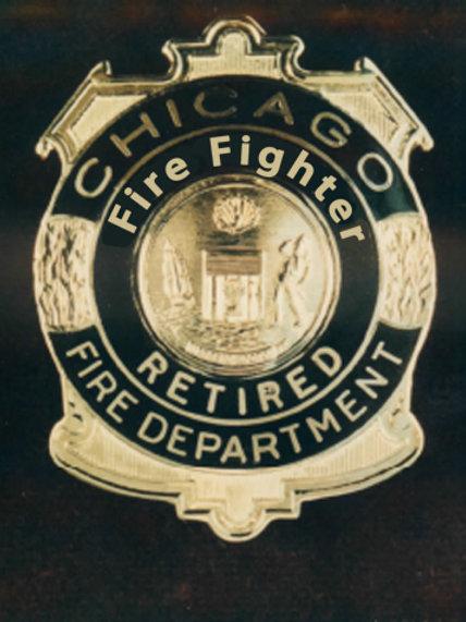 Retired Lucite Box Fire Fighter Replica Badge