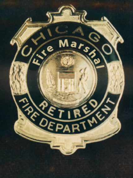 Retired Lucite Box Fire Marshal Replica Badge