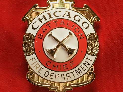 Lucite Box Battalion Chief Badge & Replacement Badge