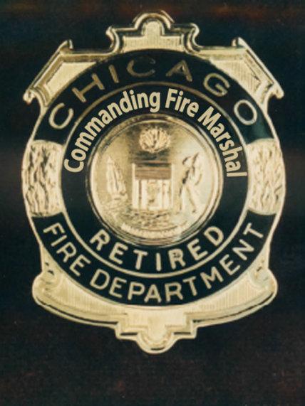 Retired Lucite Box Commanding Fire Marshal Replica Badge