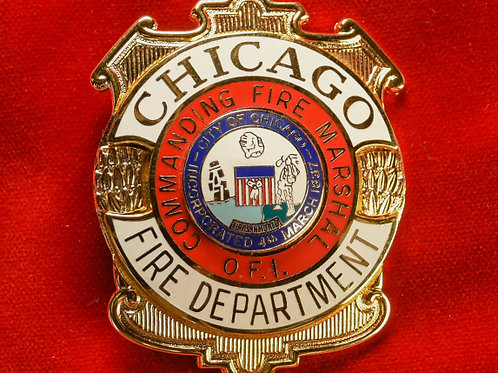 Lucite Box Commanding Fire Marshal Badge & Replacement Badge