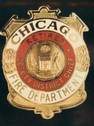 Retired Lucite Box Deputy District Chief Replica Badge