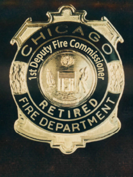 Retired Lucite Box 1st Deputy Fire Commissioner Replica Badge