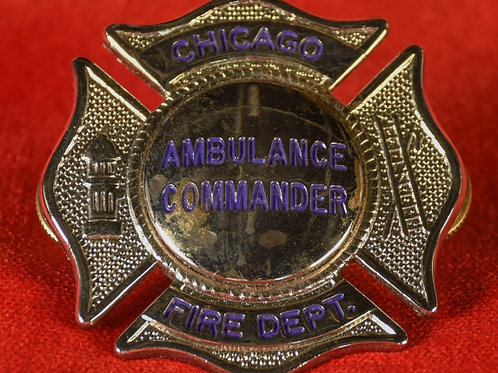 Lucite Box Ambulance Commander Badge & Replacement Badge