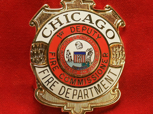 Lucite Box 1st Deputy Fire Commissioner Badge & Replacement Badge