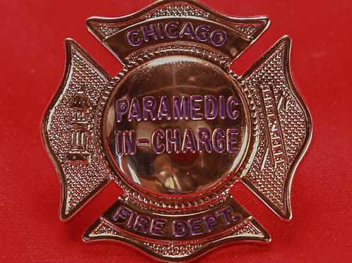 Lucite Box Paramedic In Charge Badge & Replacement Badge