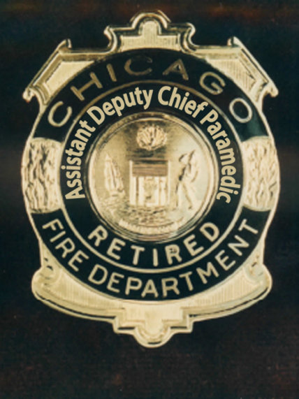 Retired Lucite Box Assistant Deputy Chief Paramedic Replica Badge