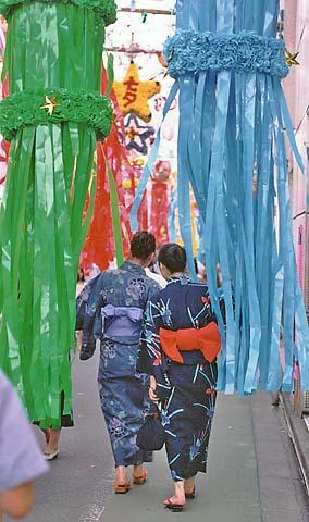 Women dressed in yukata at Tanabata