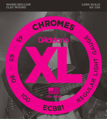 D'Addario ECB81 Chromes Flat Wound LONGSCALE 45-100