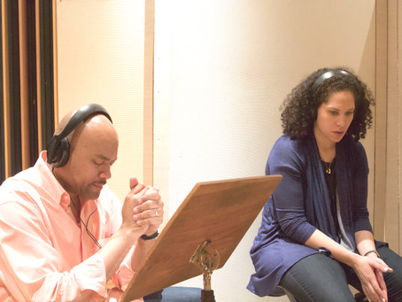 Alexandra Jackson and Chris Walker listening to PALCO during their vocal session