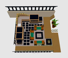 Outdoor kitchen design - aerial view