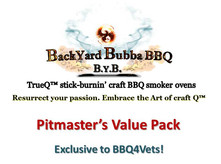 """Every TrueQ™ smoker comes with our Pitmaster's Value Pack (PVP) which includes:  •Three (3) Maverick XR-50 digital themometers •One (1) Maverick DF-10 thermometer Fork •14"""" x 14"""" x 14"""" raised charcoal basket w/ handle •Custom Smoker and Firebox cover •Two (2) Ash Shovels with 2' handles  •Galvanized ash bucket •Quick-ignite Propane Torch (tank not incl.) •One (1) pair of Heat Resistant gloves •100 drip-tray absorbent pads •Re-useable or returnable 40"""" x 40"""" shipping container ($180 credit if returned) •Free delivery of CMUs for build  •On-line build and construction diagrams, including free 3-D software (down-loadable) •6/12 on-line and live Pitmaster support •Free 1-year membership in local BBQ4Vets National BBQ Club Chapter •Free monthly e-Newsletter •Free monthly Pod-cast sessions"""