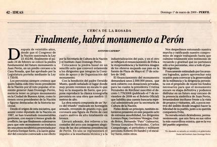 Diario Perfil – Monumento a Perón – 01 de Marzo de 2009