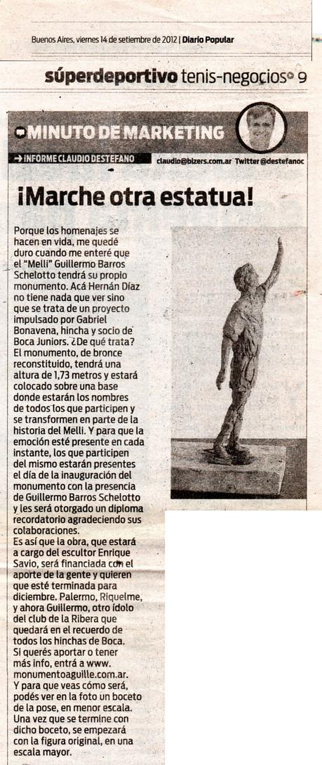"Diario Popular – Monumento al ""Guille"" - 14 de Septiembre de 2012"