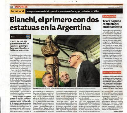 Clarín – Monumento a Carlos Bianchi - 08 de Octubre de 2016