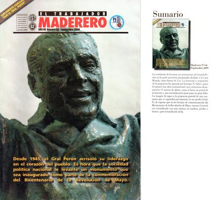 Revista El Trabajador madero – Monumento a Perón – Septiembre de 2009