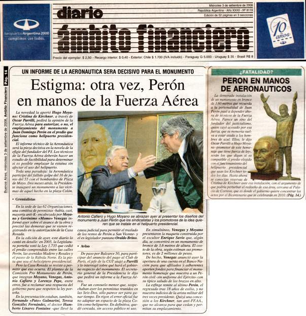 Diario Ámbito Financiero – Monumento a Perón - 03 de Septiembre de 2008