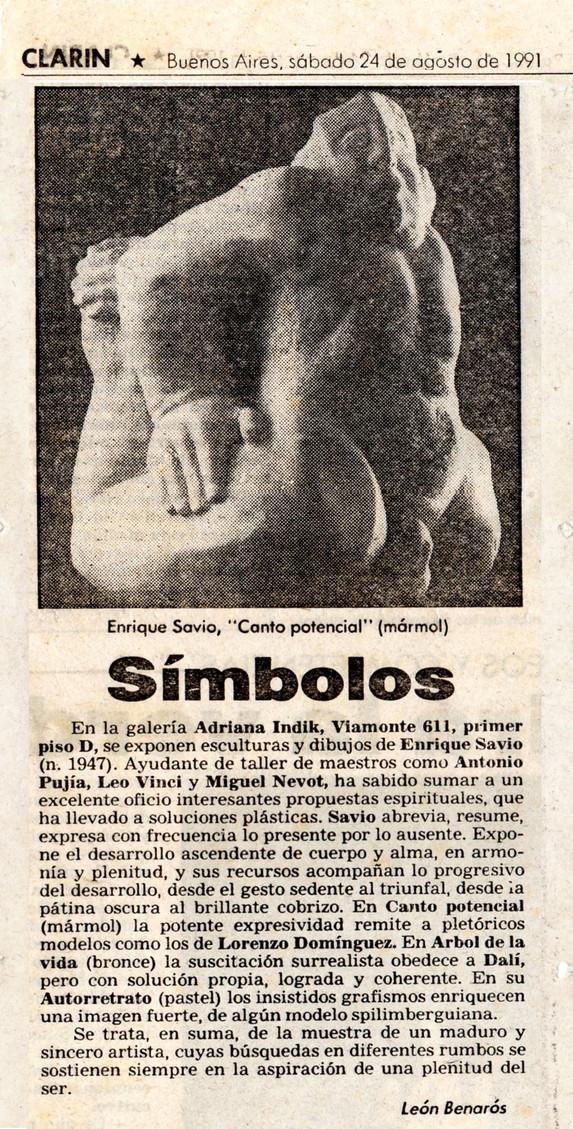 Diario Clarín Cultura - Canto potencial – 24 de Agosto de 1991