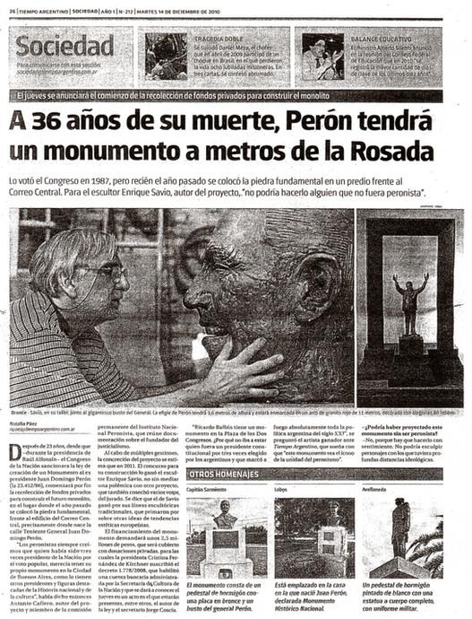 Diario Tiempo argentino – Monumento a Perón - 14 de Diciembre de 2010