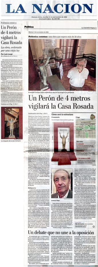 Diario La Nación – Monumento a Perón – 11 de Noviembre de 2008