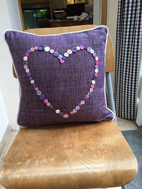 Purple Button Heart