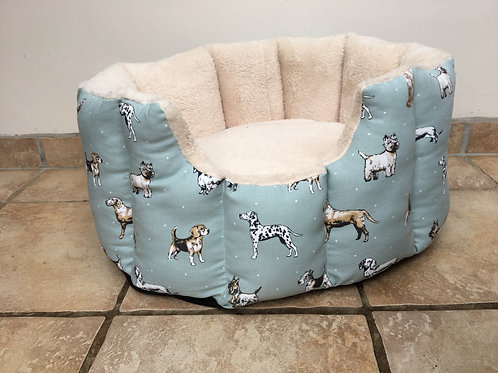 Dog Print Cave Bed