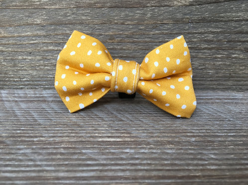 Mustard Dotty Bow Tie