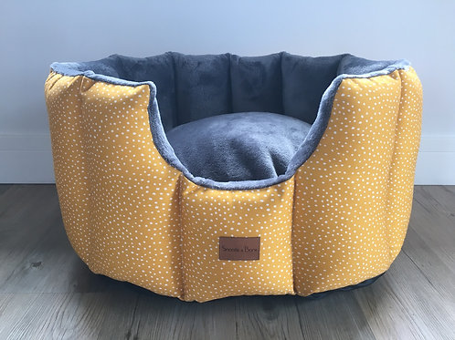 Mustard dotty cave bed