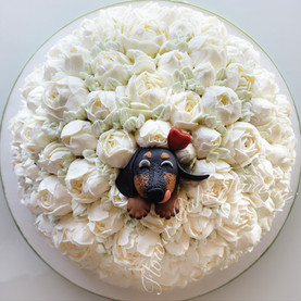 Silly Pup in Rose Bush Cake