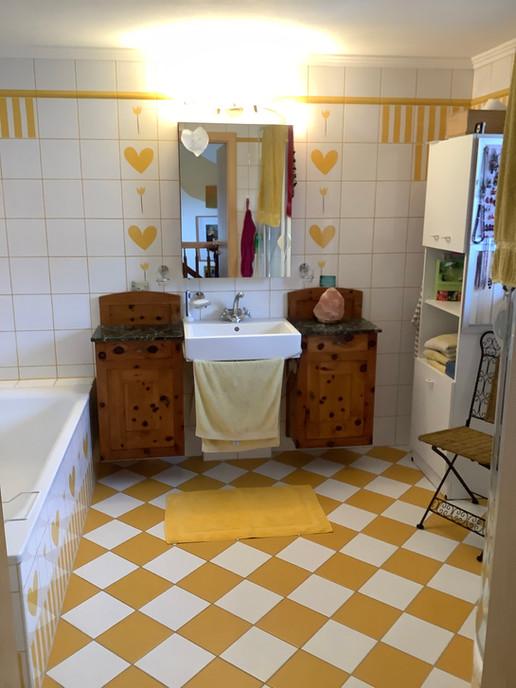Badezimmer mit Dusche, Badewanne und WC