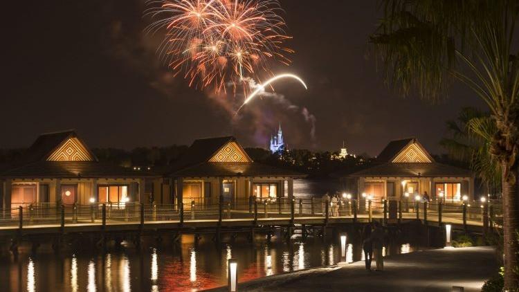 The Bora Bora Bungalows at Disney's Polynesian Villas & Bungalows: Fireworks Over Magic Kingdom