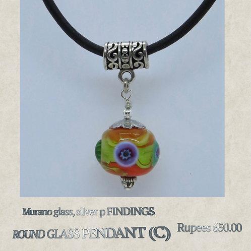 Round Glass Pendant - C
