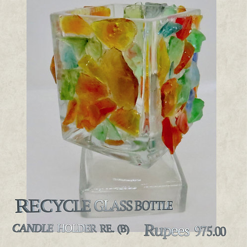 Recycle Glass Bottle - Candleholder - B