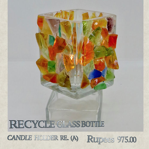 Recycle Glass Bottle - Candleholder - A